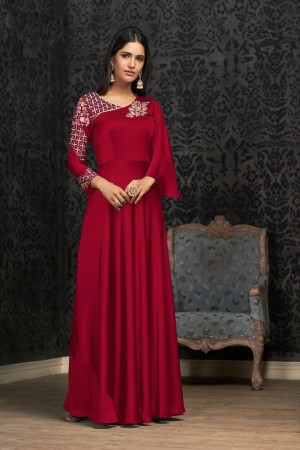 Red Glowing Georgette Gown