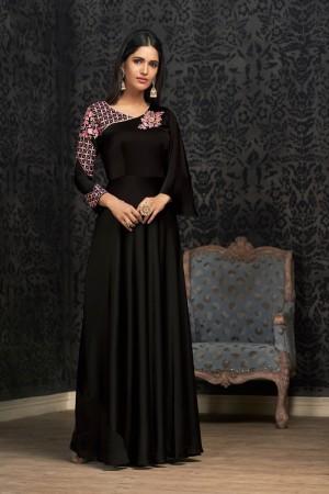Black Glowing Georgette Gown