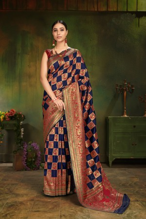 Blue Patola Silk Saree with Blouse