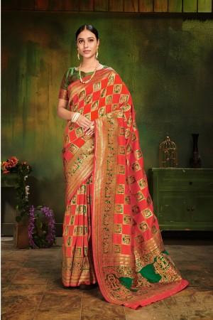 Red Patola Silk Saree with Blouse