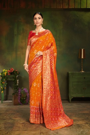 Orange Patola Silk Saree with Blouse