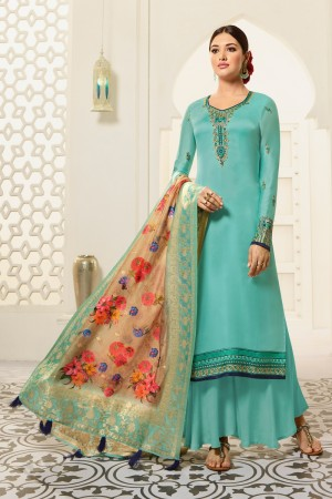 Sky Blue Satin Georgette Plaazo Suit