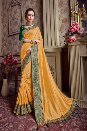 Yellow Chinnon Chiffon Saree with Blouse