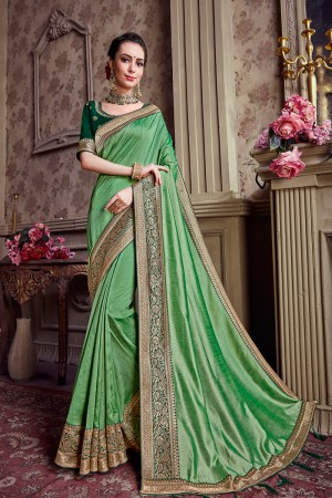 Light Green Chinnon Chiffon Saree with Blouse