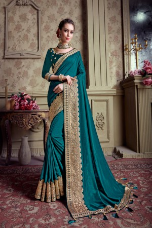 Teal Chinnon Chiffon Saree with Blouse