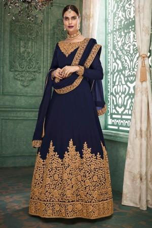 Blue Georgette Anarkali Salwar Kameez