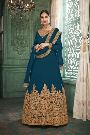 Aqua Blue Georgette Anarkali Salwar Kameez