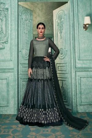 Charcoal Faux Georgette Anarkali Salwar Kameez