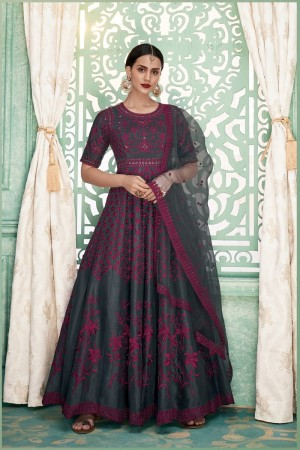 Grey Soft Silk Anarkali Salwar Kameez
