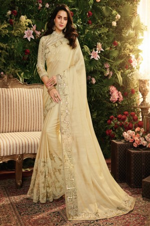 Cream Fancy Fabric Saree with Blouse