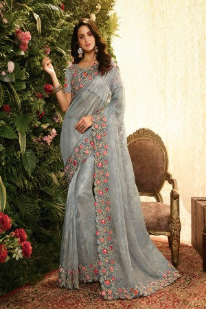 Grey Fancy Fabric Saree with Blouse