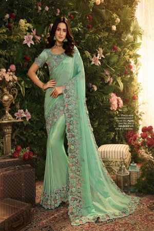 Sky Blue Fancy Fabric Saree with Blouse