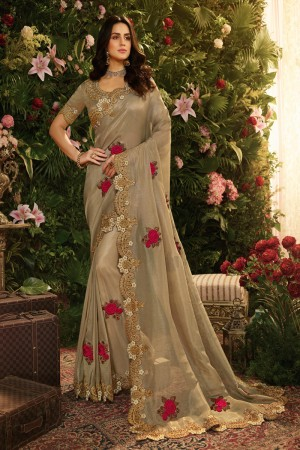 Beige Fancy Fabric Saree with Blouse