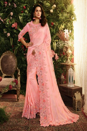 Pink Fancy Fabric Saree with Blouse