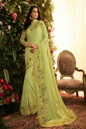 Pista Fancy Fabric Saree with Blouse