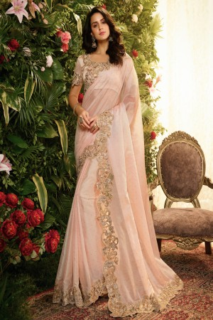 Light Pink Fancy Fabric Saree with Blouse