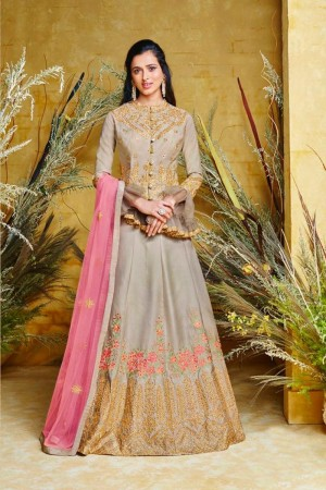 Grey Pure silk Salwar Kameez