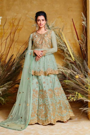 Light Green Heavy Net Salwar Kameez