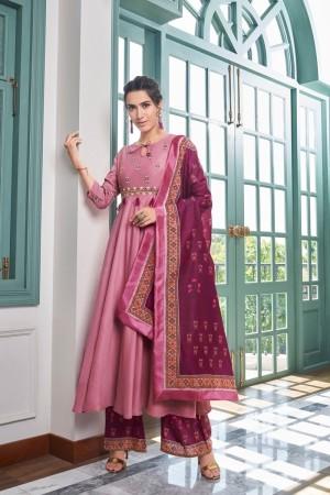 Pink Muslin Plaazo Suit