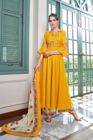 Yellow Muslin Plaazo Suit