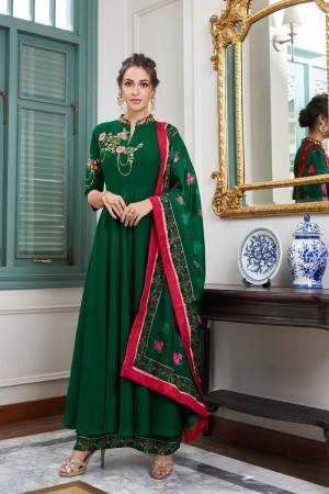 Dark Green Muslin Plaazo Suit