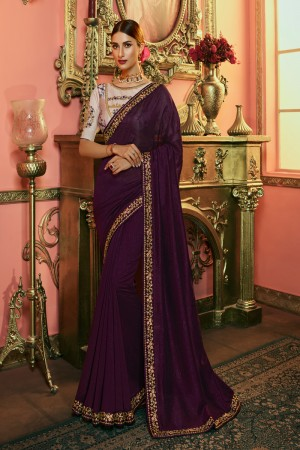 Wine Silk Saree with Blouse