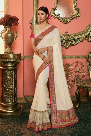 Cream Dola Silk Saree with Blouse