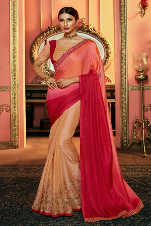 Rani & Peach Satin & Tissue Silk Saree with Blouse