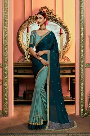 Blue Silk Saree with Blouse