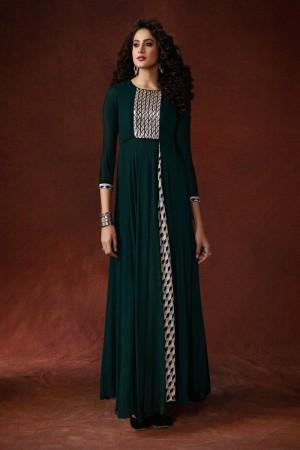 Dark Green Georgette & Silk Crepe Gown