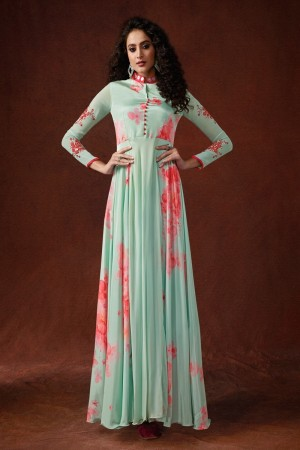 light turquoise Georgette & Silk Crepe Gown