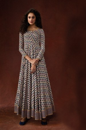 Multicolor Silk Crepe Gown