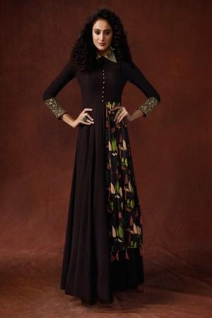 Wine Georgette & Silk Gown