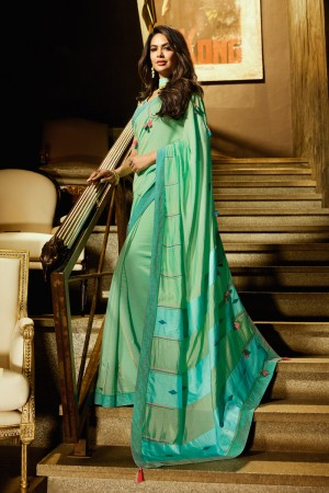 Light Green Fancy Fabric Saree with Blouse