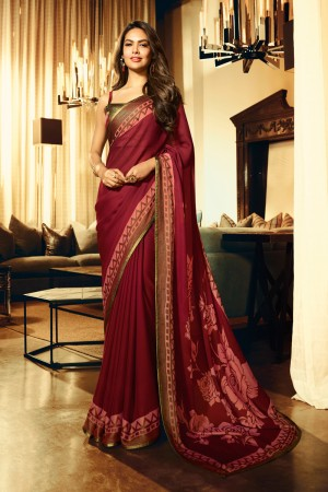 Maroon Fancy Fabric Saree with Blouse