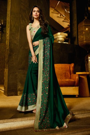DarkGreen Fancy Fabric Saree with Blouse