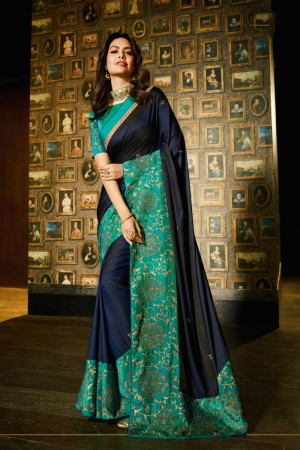 Navy Blue Fancy Fabric Saree with Blouse