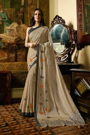 Chiku Fancy Fabric Saree with Blouse