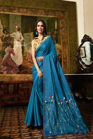 OceanBlue Fancy Fabric Saree with Blouse