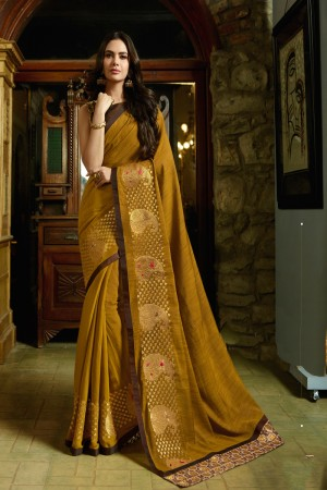 Musterd Fancy Fabric Saree with Blouse