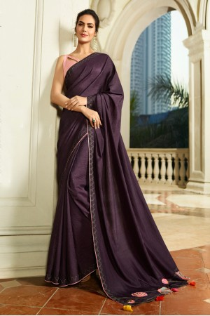 Purple Fancy Fabric Saree with Blouse