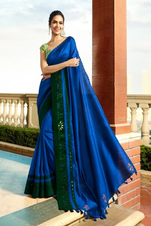 Blue Fancy Fabric Saree with Blouse