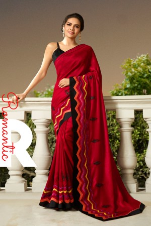 Red Fancy Fabric Saree with Blouse