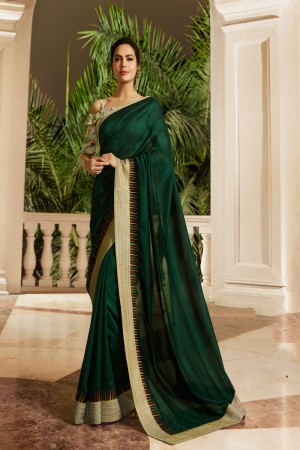 Dark Green Fancy Fabric Saree with Blouse