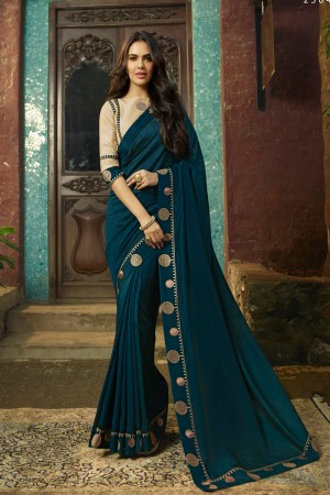 Ocean Fancy Fabric Saree with Blouse
