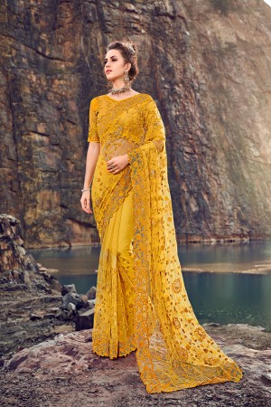 Yellow Net Saree with Blouse