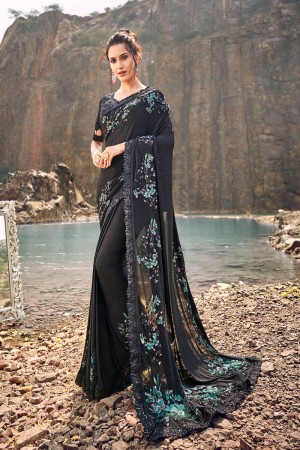 Black Korean Saree with Blouse