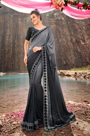 Grey Korean Saree with Blouse