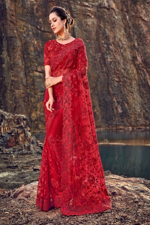 Red Net Saree with Blouse