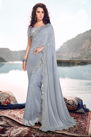 Light Grey Korean Saree with Blouse